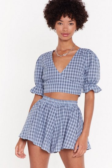 Womens Blue Checkin' in Puff Sleeve Crop Top