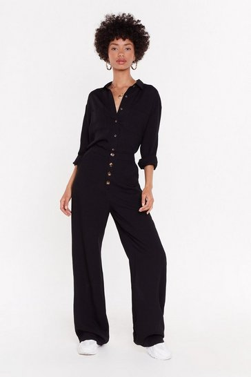 Womens Black You're Going Button-Down Wide-Leg Pants