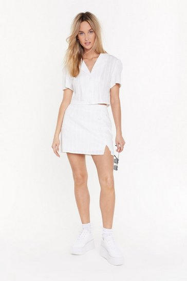 Womens White Loosen Up My Buttons Mini Skirt