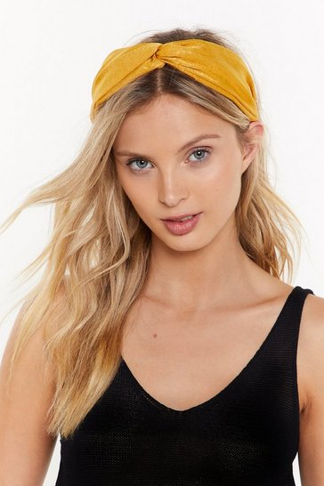Womens Mustard Use Your Head Wide Knot Headband
