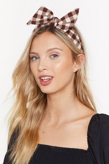 Womens Brown Take a Bow Gingham Headband