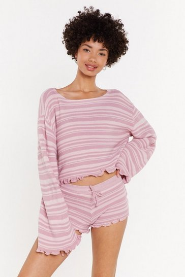 Womens Soft pink Jump Into Bed Pink Stripe Ruffle Short Lounge Set