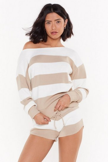 Womens Oatmeal Kick Back & Relax Striped Pajama Sweater and Shorts Set
