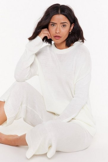 Womens Cream You've Met Your Match Ribbed Sweater and Pants