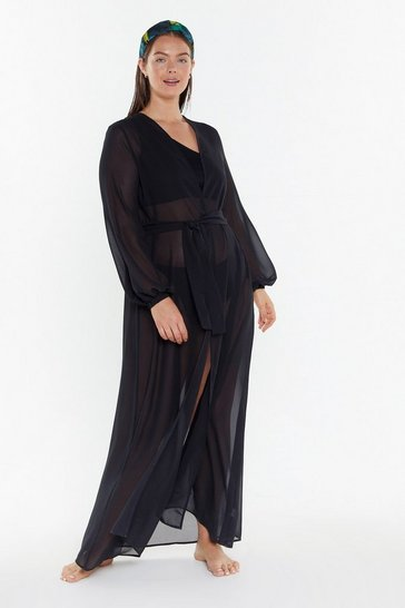 Womens Black MS Chiffon Maxi Beach Cover Up