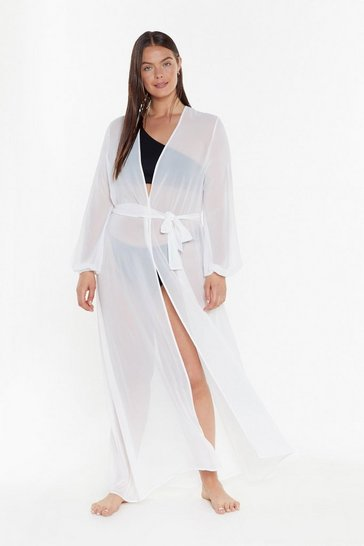 Womens Cream MS Chiffon Maxi Beach Cover Up