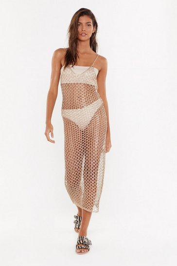 Womens Gold Metallic Knit Beach Dress