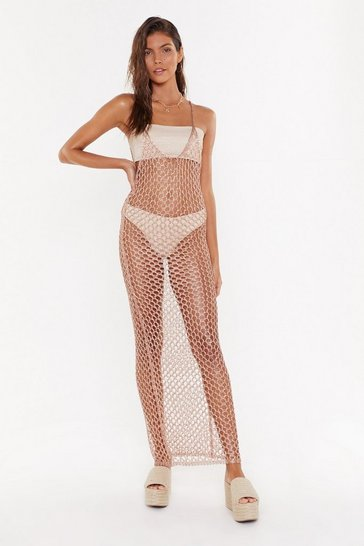 Womens Rose Metallic Knit Beach Dress
