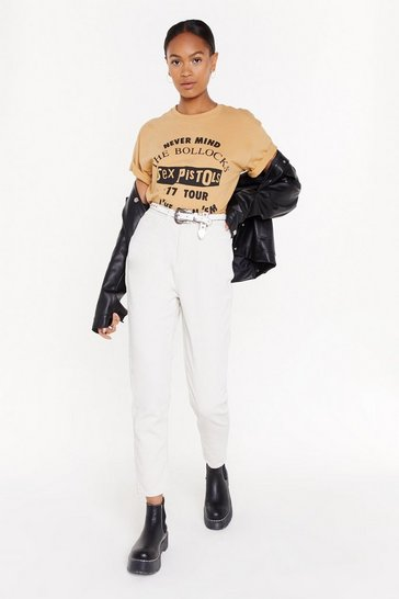 Womens Ecru Put Your Re-cords On Corduroy Mom Jeans
