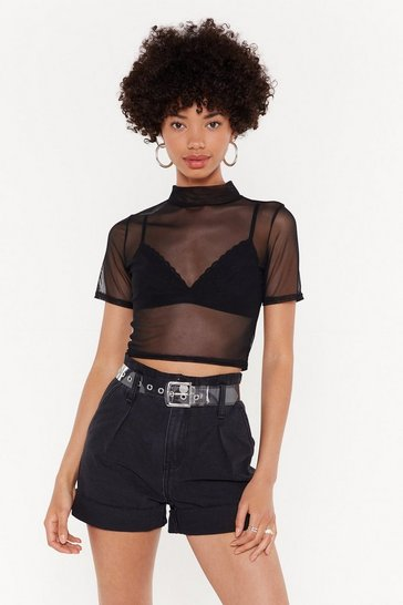 Womens Black Life's a Mesh Cropped Top