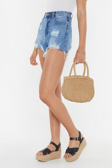WANT My Picnic Basket Woven Straw Bag, Brown, FEMMES