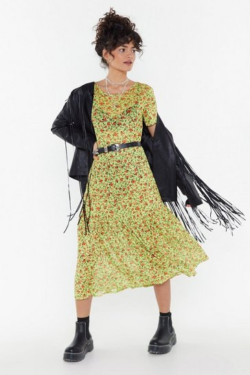 Lime Would You Be-leaf Floral Mesh Dress