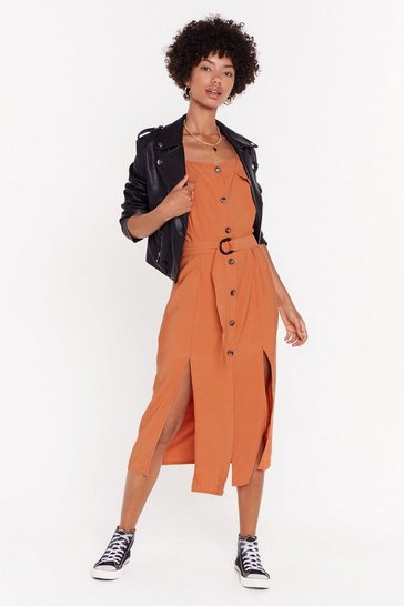 Womens Orange Button Front Textured Midi Dress