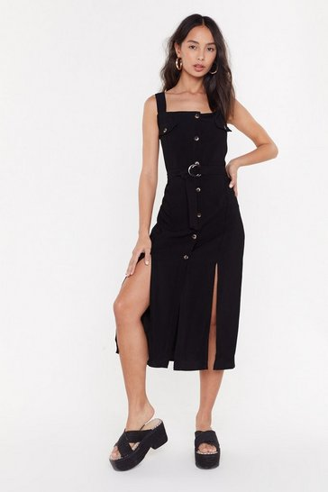 Womens Black Button Front Textured Midi Dress