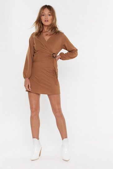 Womens Tan Wrap Battle Buckle Mini Dress