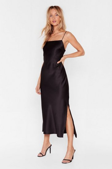 Black Satin Slip Midi Dress