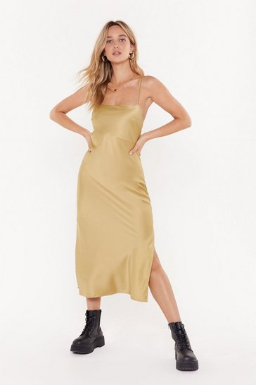 Womens Gold Square Neck Midi Slip Dress