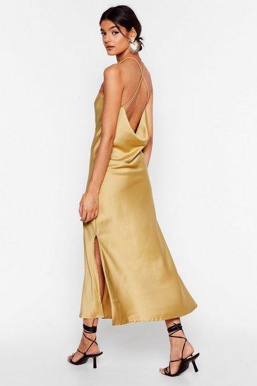 Gold Don't Slip Up Midi Slip Cami Dress