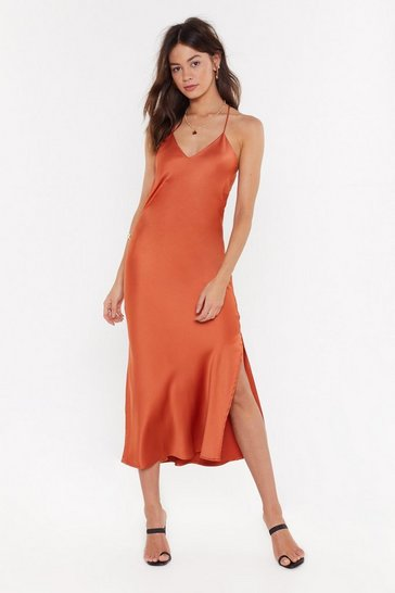 Womens Rust Satin the Know Cowl Midi Dress