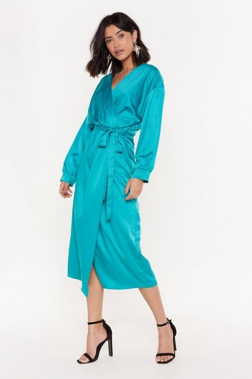 Womens Jade Wrap's It Satin Midi Dress
