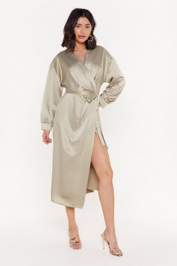 Womens Sage Wrap's It Satin Midi Dress
