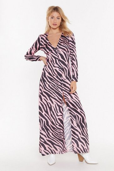Womens Pink Button Me Up Animal Maxi Dress