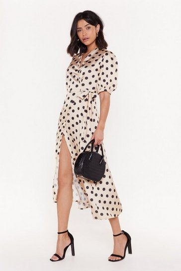 Womens Gold It's Spot You It's Me Polka Dot Midi Dress
