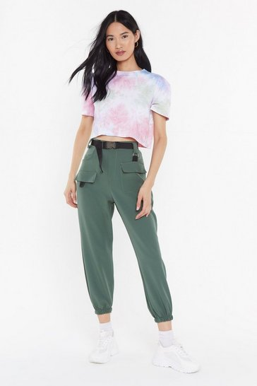 Womens Khaki Driver's Seat Belted Jogger Pants