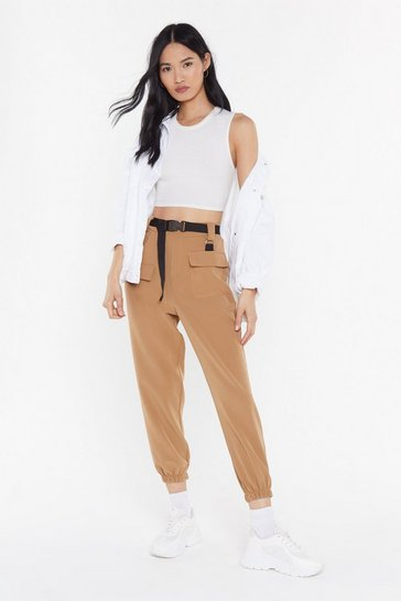 Womens Camel Driver's Seat Belted Jogger Trousers