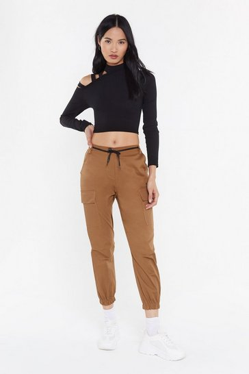 Womens Tan Cargo Utility Trousers