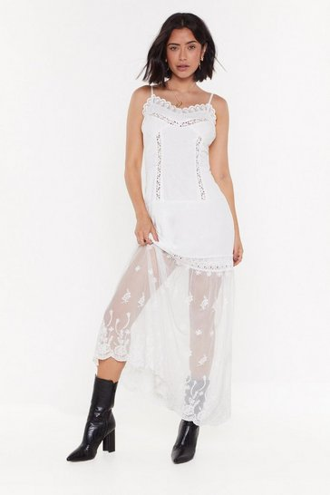 Womens White Mesh Shit Up Broderie Anglaise Maxi Dress