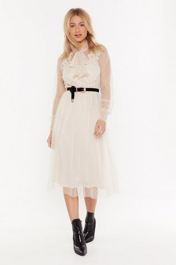 Womens Nude Bow Doubt About It Applique Midi Dress