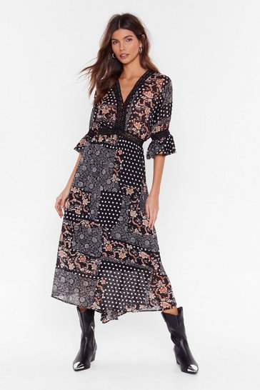 Black Patch Me If You Can Mixed Print Maxi Dress