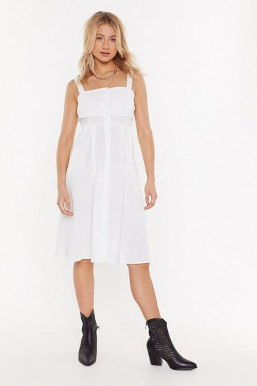 Womens White Button the Lookout Square Neck Midi Dress