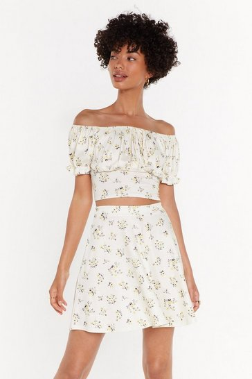 Womens Lemon All of Your Florals Fit & Flare Mini Skirt