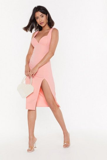 Womens Coral Plunge Down Midi Dress
