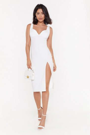 Womens White Plunge Down Midi Dress