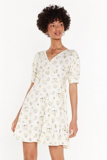 Womens Lemon My Flower in Need Floral Wrap Dress