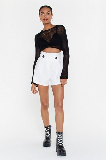 Womens White Front Page News Paperbag Relaxed Shorts