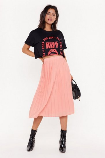 Womens Coral Take a Pleat High-Waisted Midi Skirt