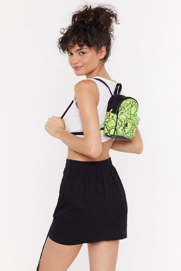WANT Snake An Offer Faux Leather Backpack, Neon-lime, FEMMES