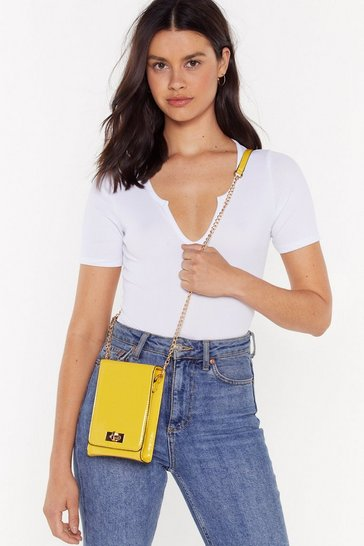 Womens Yellow Patent Structured Cross Body Box Bag