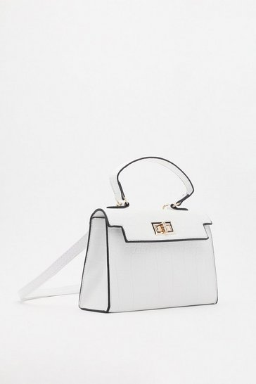 White Structured Croc Cross Body Mini Bag