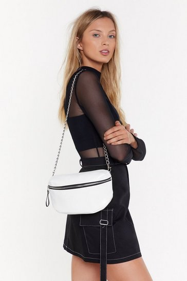 Womens White Chain Strap High Swing Crossbody Bag