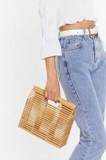 Womens Natural WANT What Wood You Do Wooden Structured Bag