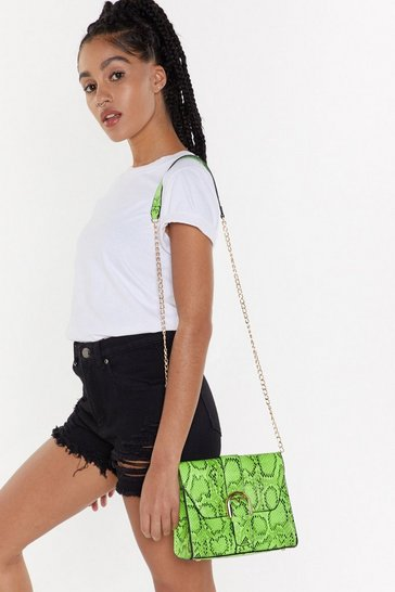 Womens Lime WANT Don't Hiss Me Off Snake Crossbody Bag