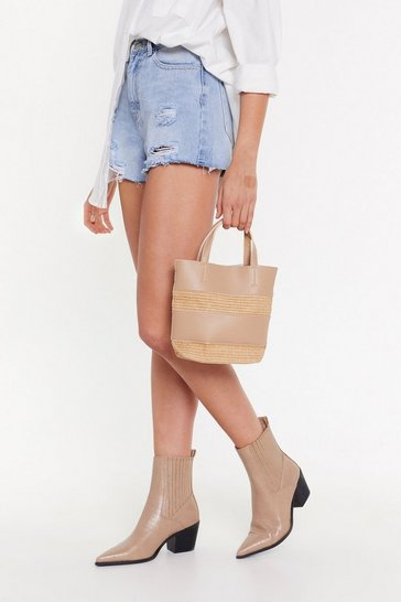 Womens Sand Straw & PU Mini Shopper