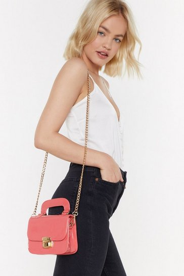 Patent Structured Handle Mini Cross Bag, Coral, FEMMES