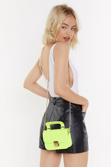 Womens Neon-lime Patent Structured Handle Mini Cross Bag