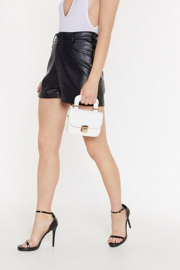 White Patent Structured Handle Mini Cross Bag